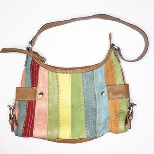 Fossil bag purse trendy rainbow leather suede